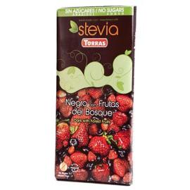 Chocolate con Stevia Negro Frutas del Bosque Sin Gluten Convencional 125g