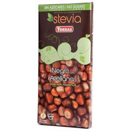 Chocolate con Stevia Negro con Avellanas Sin Gluten Convencional 125g