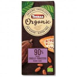 Chocolate Orgánico Negro 90 % Cacao Criollo Forastero Bio 100g