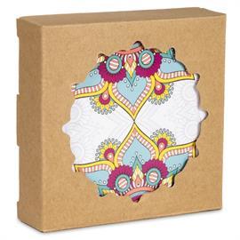 Posavasos Redondo de Mandala Turquesa Set de 6