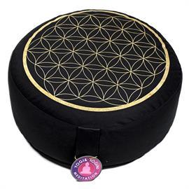 Cojín de Meditación Flor de La Vida Negro Oro Algodón Orgánico 33X17cm
