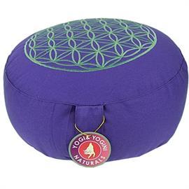 Cojín de Meditación Flor de La Vida Púrpura Plata Algodón Orgánico 33X17cm