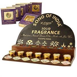 Expositor de Madera con 42 Perfumes Sólidos en Crema