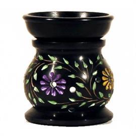 Quemador de Incienso y Portavela Esteatita Flores 10x8 cm