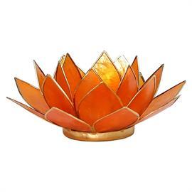 Portavelas Loto 2ª Chakra Ámbar, Naranja y Oro 13,5cm