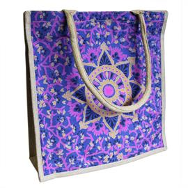 Bolso de Compras Grande de Yute Alpana Azul 40X40cm