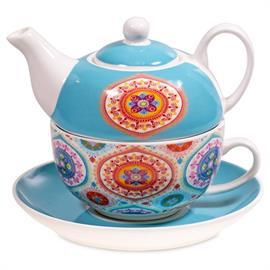 Juego de Té Tazá y Tetéra Mandala Azul