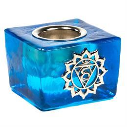 Cubo Portavelas de Vidrio Chakra de la Garganta