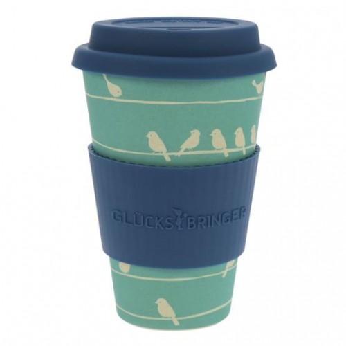 Vaso de Bambú Azul Loving Birds 400ml