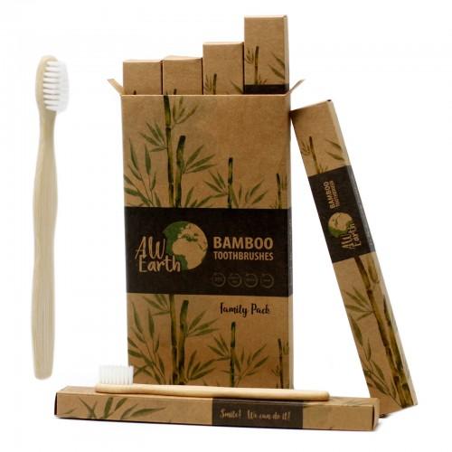 Pack Familiar 4 Cepillos de Dientes de Bambú 2 Adulto 2 Niños