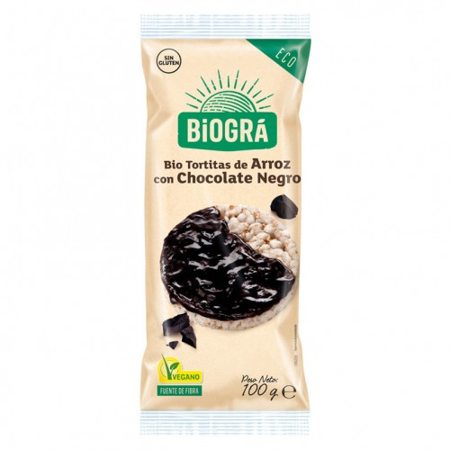 Tortitas de Arroz con Chocolate Negro Bio 100g