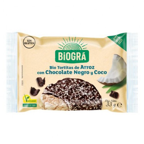 Tortitas de Arroz con Chocolate Negro y Coco Monodosis Bio 33g