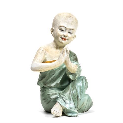Estatua de Monje Yoga Namaste Verde 11x8,5x14,5cm