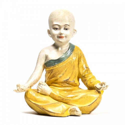 Estatua de Monje Yoga Om Naranja 13x8,5x14cm