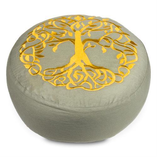 Cojín Zafu de Meditación Árbol de la Vida Algodón Orgánico 33x12cm