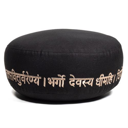 Cojín Zafu de Meditación Gayatri Mantra Algodón Orgánico 33x12cm