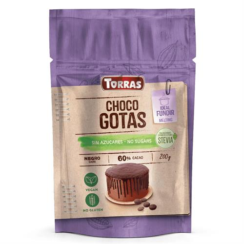 Gotas de Chocolate al 60% con Stevia Cobertura y Postres Bio 200g