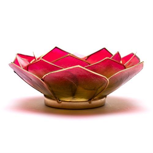 Portavelas Loto Rosa Verde y Oro 13,5cm