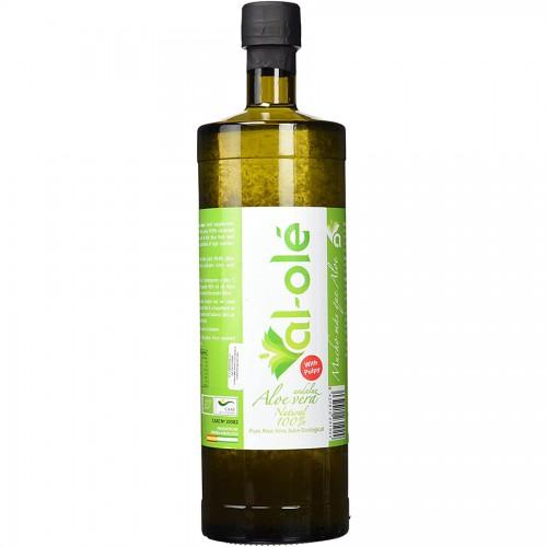 Jugo de Aloe Vera Ecológico con Pulpa en Botella de Cristal Al Olé 1L