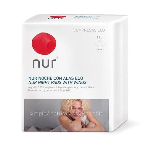 Compresas Ecológicas Ultra Alas Noche Nur 12 ud