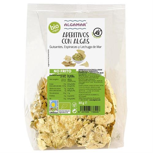 Snacks de Guisantes Espinacas y Lechuga de Mar Algamar Bio 30g