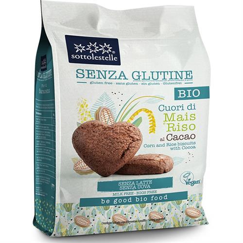 Galletas Corazones de Maíz y Arroz con Cacao Sottolestelle Bio 250g