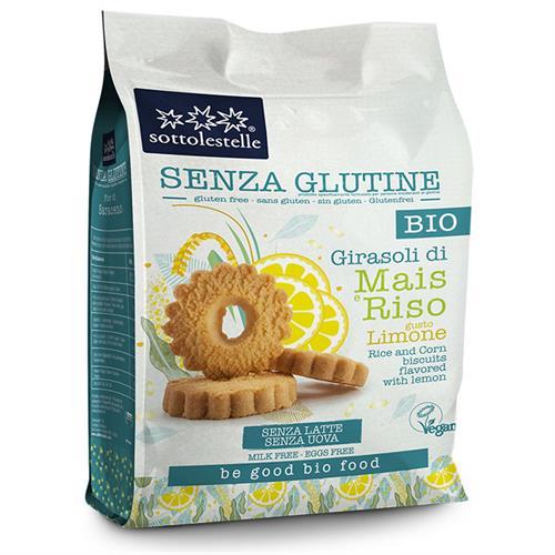 Galletas Girasoles de Maíz y Arroz al Limón Sin Gluten Sottolestelle Bio 250g