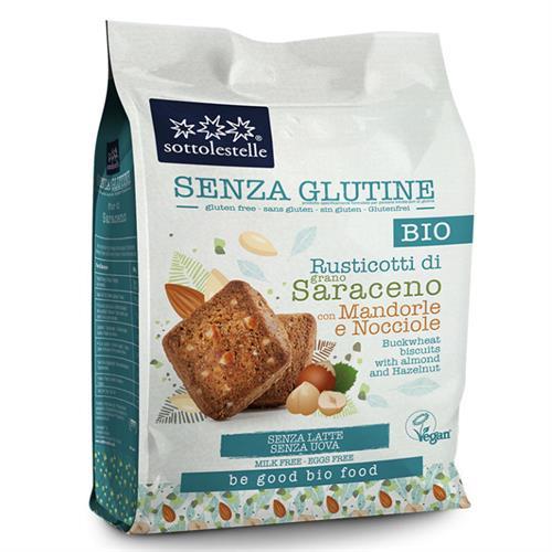 Galletas Rusticotti de Sarraceno Almendra y Avellana Sin Gluten Sottolestelle Bio 250g