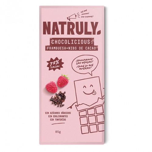 Chocolicious con Frambuesa y Nibs de Cacao Natruly 85g