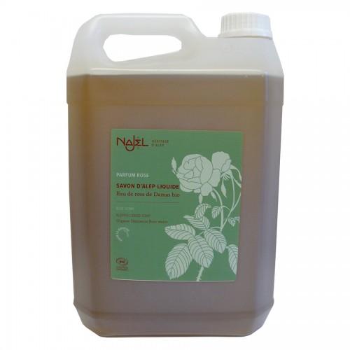 Jabón de Alepo Líquido con Agua de Rosa de Damasco Najel Bio 5L
