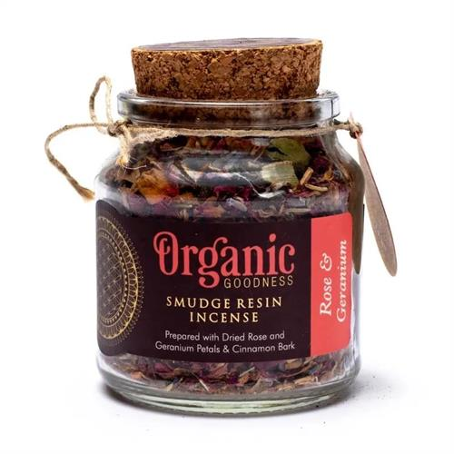 Resina de Incienso Smudge de Rosa y Geranio Organic Goodness 80g