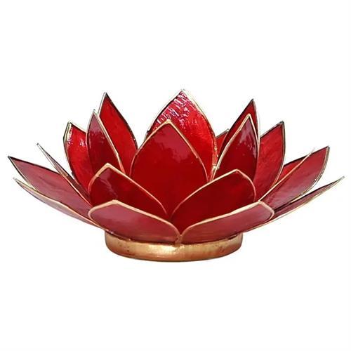 Portavelas Loto 1er Chakra Rojo con Borde Oro 13,5cm