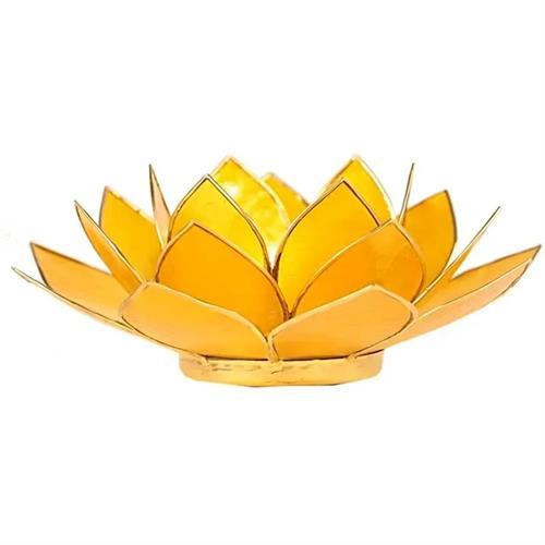 Portavelas Loto 3er Chakra Amarillo con Borde Oro 13,5cm