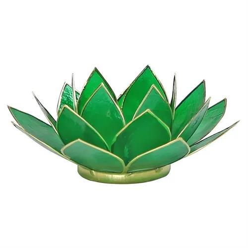Portavelas Loto 4to Chakra Verde con Borde Oro 13,5cm