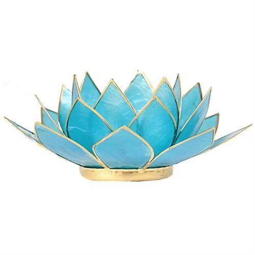 Portavelas Loto 5to Chakra Azul con Borde Oro 13,5cm
