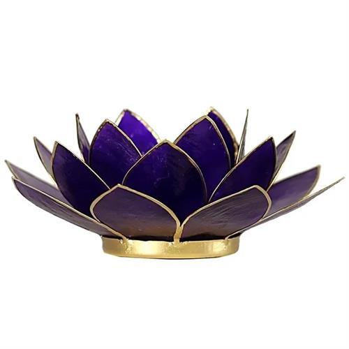 Portavelas Loto 7mo Chakra Púrpura con Borde Oro 13,5cm