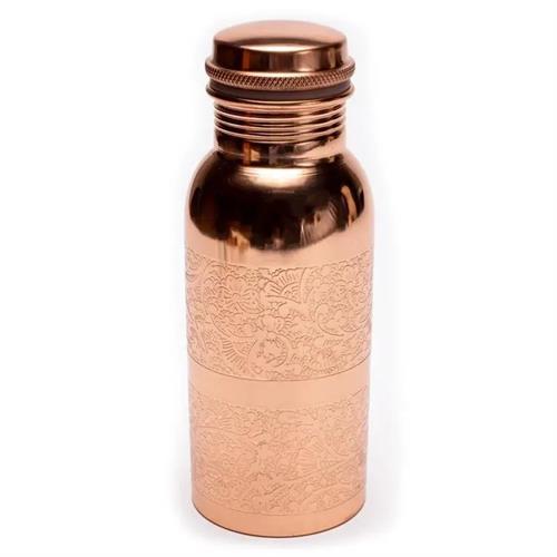 Botella de Cobre Diseño Floral Grabado 500ml