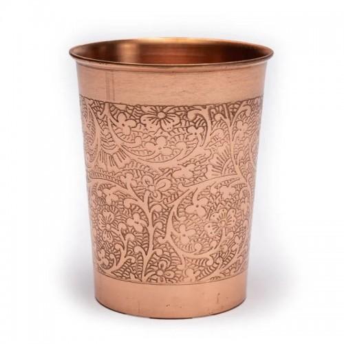 Vaso de Cobre Diseño Floral Grabado 250ml