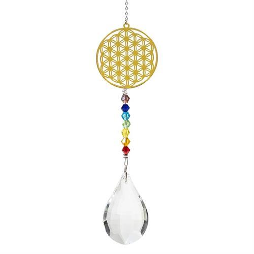 Colgante Decorativo Feng Shui con Flor de la Vida Chakras y Cristal 29cm
