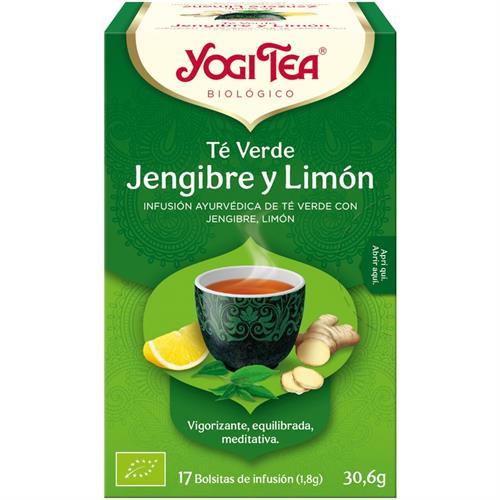 Infusión Té Verde Jengibre y Limón Yogi Tea Bio 17 Bolsitas 30,6g