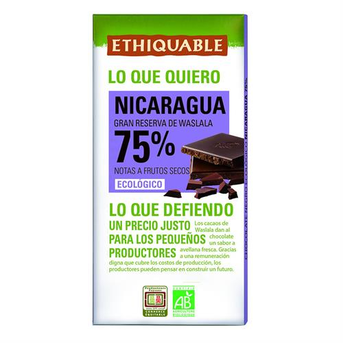 Chocolate Negro 75% Nicaragua Ethiquable Bio 100g