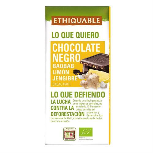 Chocolate Negro con Baobab Limón y Jengibre Ethiquable Bio 100g