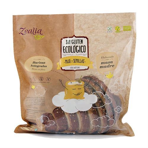 Pan de Mijo y Semillas Sin Gluten Zealia Bio 370g