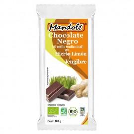 Chocolate Negro 65% con Hierba Limón y Jengibre Bio 100g