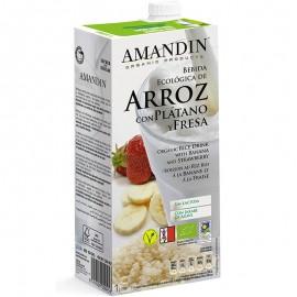 Bebida Ecológica de Arroz con Plátano y Fresa Bio 1L