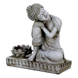Buda con Portavela Gris 17cm