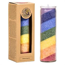 Vela Arco Iris Sin Perfume en Cristal 21X6cm