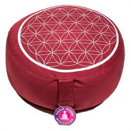 Cojín de Meditación Flor de La Vida Rojo Plata Algodón Orgánico 33X17cm