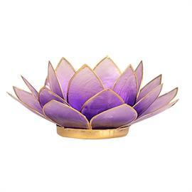 Portavelas Loto Púrpura y Oro 13,5cm