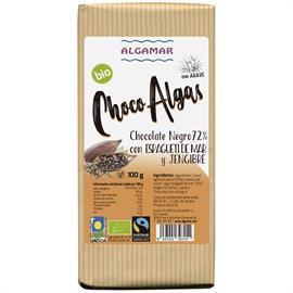 Chocolate Negro 72% con Algas Espagueti de Mar y Jengibre Bio 100g